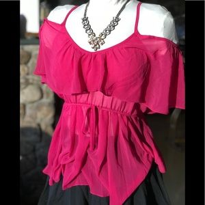 Venus Romantic Chiffon Cold Shoulder Top